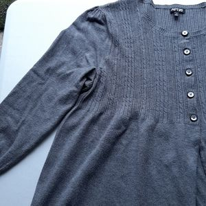 Apt. 9 gray half buttoned light sweater top